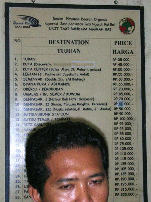 空港タクシー料金表